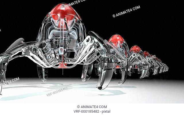 Medical nanobots marching in a line