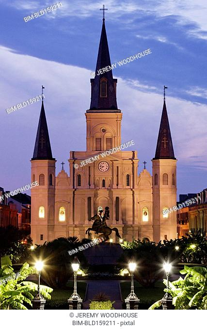 St. Louis Cathedral illuminated at night, New Orleans, Louisiana, United States