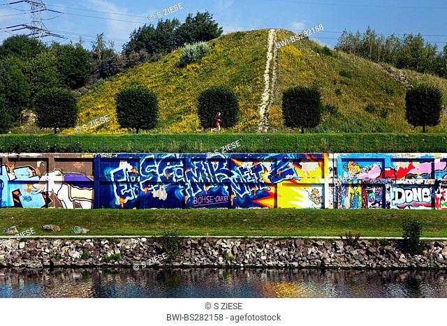 wall with graffitis at chanel Rhein Herne Kanal at Nordsternpark, Germany, North Rhine-Westphalia, Ruhr Area, Gelsenkirchen