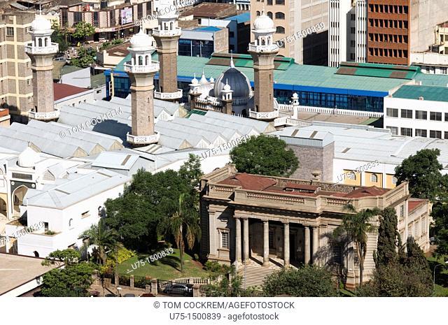 Aerial view of city with Jamia Mosque and McMillan Memorial Library looking north nairobi kenya