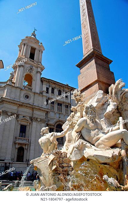 Fontana Dei Quattro Fiumi -Fountain of the Four Rivers - by Gian Lorenzo Bernini in Piazza Navona  The fountain represents the world's four major rivers: The...
