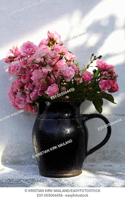 Ancient jar with many pink roses standing against white wall
