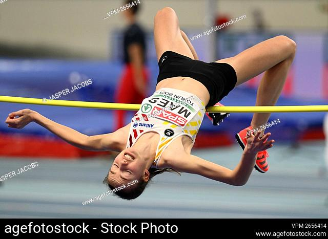 Belgian Merel Maes pictured in action during the qualification round of the women high jump event of the European Athletics Indoor Championships, in Torun