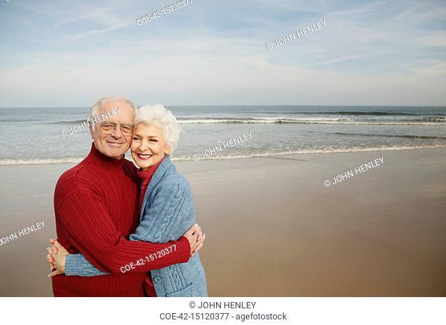 Smiling Senior Couple at the Beach