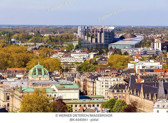 View over the historic center to the European Quarter, European Parliament, EU, Strasbourg, Alsace, France