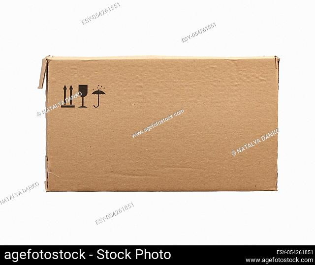rectangular box of brown cardboard isolated on a white background, box for transporting bottles, side view