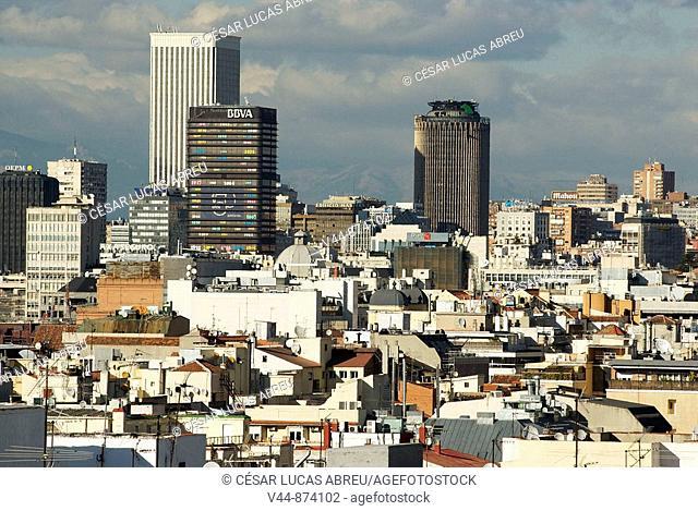 AZCA financial district buildings seen from Calle de Alcala, Madrid, Spain