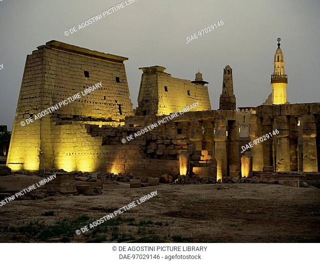 View of the pylon and Ramesses II Courtyard at evening time, Temple of Amun (Unesco World Heritage List, 1979), Luxor. Egyptian civilisation, New Kingdom