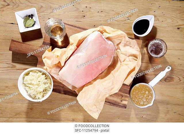 Pork and ingredients for roast pork