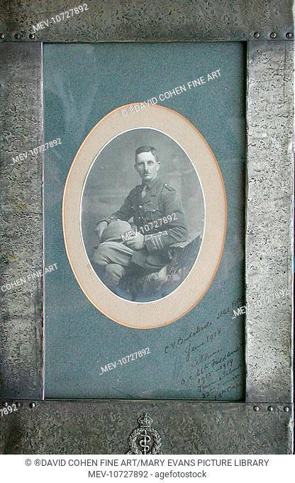 'Oval portrait of Lieutenant Colonel C. V. Bulstrode, DSO, RAMC., in a pewter frame with RAMC badge. Dated June 1918, Athens