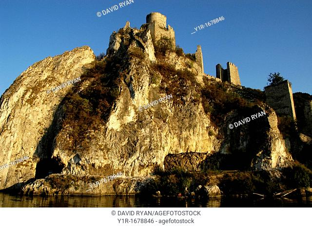 Golubac Fortress 14th Cent at the entrance to the Iron Gate of the Danube River, Serbia