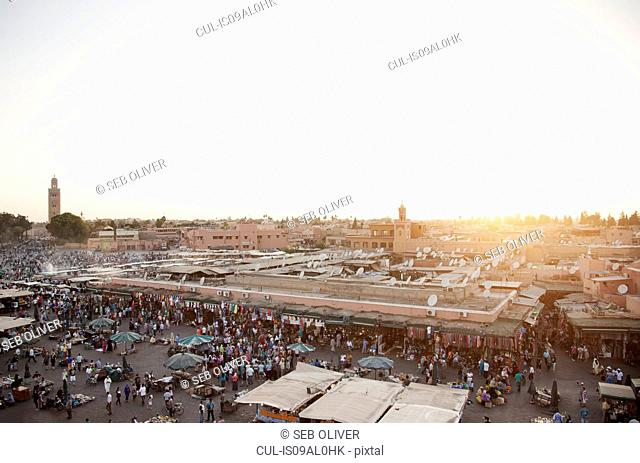 View of market stalls at sunset, Jamaa el Fna Square, Marrakech, Morocco