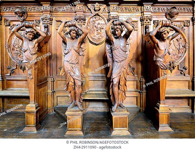 Antwerp, Belgium. St Carolus Borromeus Church (1626: Baroque - Pieter Huyssens, François d'Aguilon) Carved wooden confessional