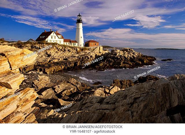 Rocky coastline below the Portland Head Lighthouse near Portland Maine, USA