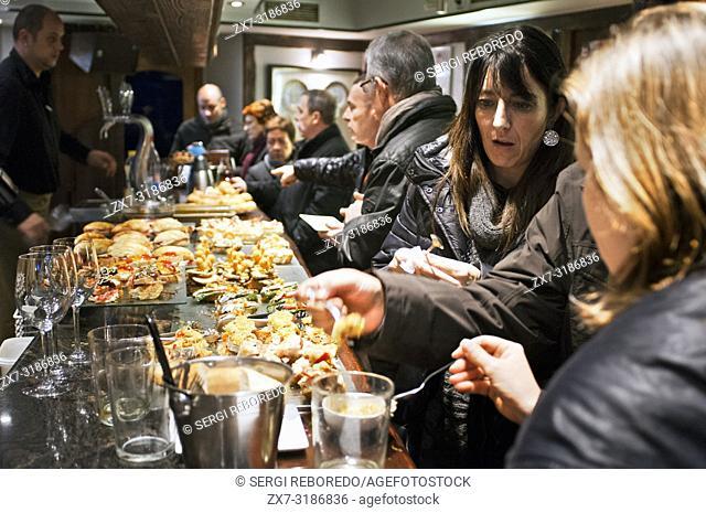 Pintxos and typical food in an basque bar in Hondarribia Fuenterrabía Gipuzkoa, Basque Country, Spain