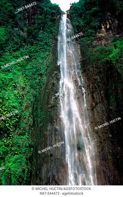 Carbet second waterfall (110 m. high) by La Soufrière volcanic mountain. Guadeloupe, French West Indies