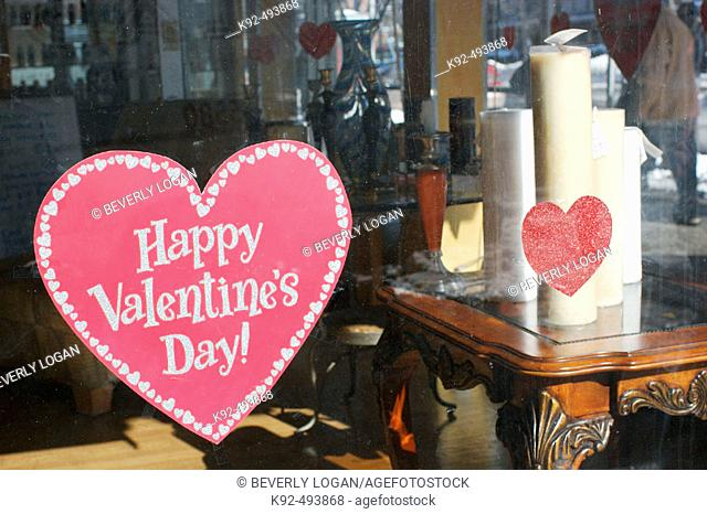 Valentine's Day display in a store window. New York. USA