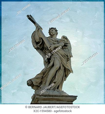 Angelo con la Croce or Angel with Cross, by Ercole Ferrata, Ponte Sant'Angelo, Saint Angel bridge, textured, Rome, Italy, Europe