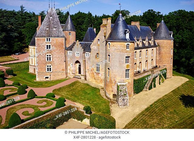 France, Cher (18), Berry, Chateau de Blancafort castle, aerial view, the Jacques Coeur road