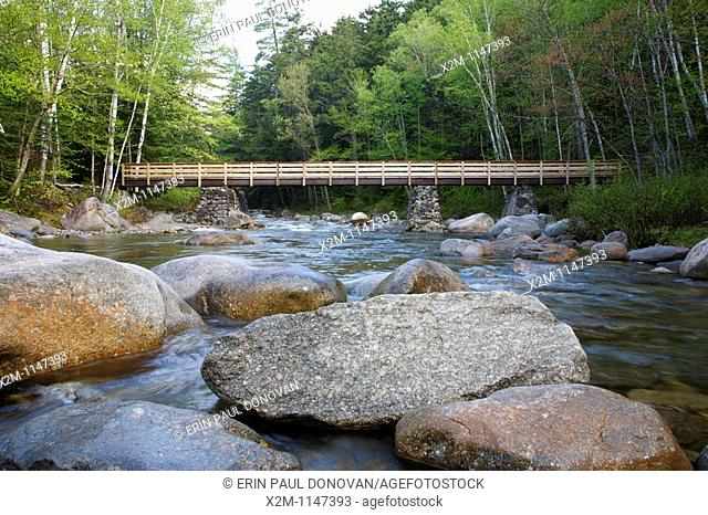 Foot bridge along the Lincoln Woods Trail which crosses Franconia Brook in Lincoln, New Hampshire. Hikers enter into the Pemigewasset Wilderness on the...
