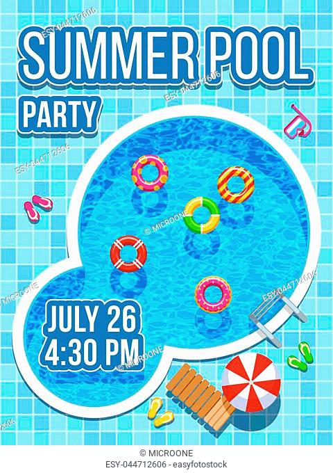 Top view nobody swimming pool with blue water. Vector design for party invitation. Summer pool party banner illustration