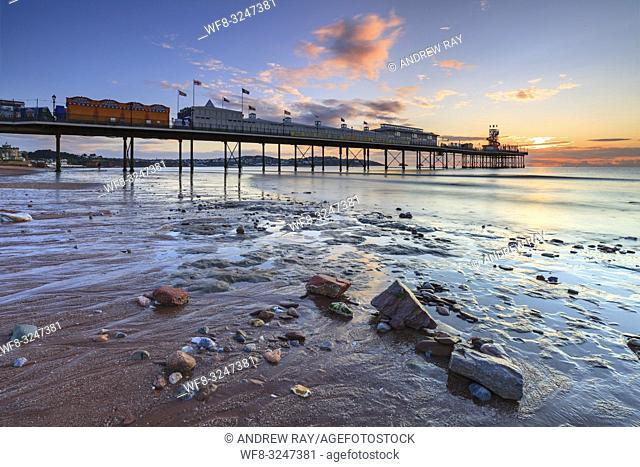 Boulders on Paignton Beach captured shortly after sunrise