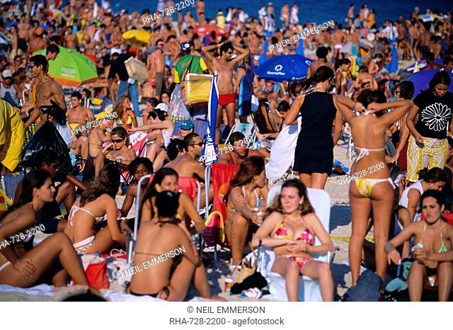 Sunday crowd, Ipanema Beach, Rio de Janeiro, Brazil, South America