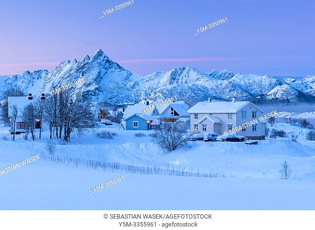Winter landscape over Buksnesfjorden near Leknes, Lofoten, Nordland, Norway, Europe
