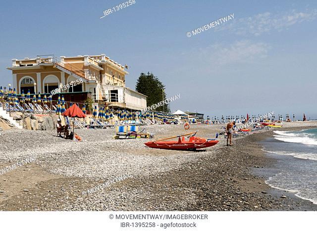 Kursaal on the pebble beach, Bordighera, Riviera, Liguria, Italy, Europe