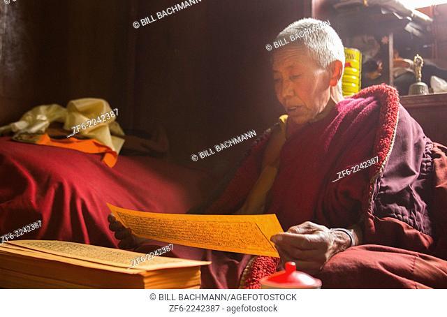 Nepal Himalayas Buddhist nun at the Kharigandentenphelling Monastery in the village of Thamo Solukhumbu Mt Everest reading prayers Tibetan scriptures in remote...