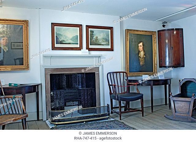 Interior of an upper room, Robert Burns cottage, Burns Steet, Dumfries, Dumfries and Galloway, Scotland, United Kingdom, Europe