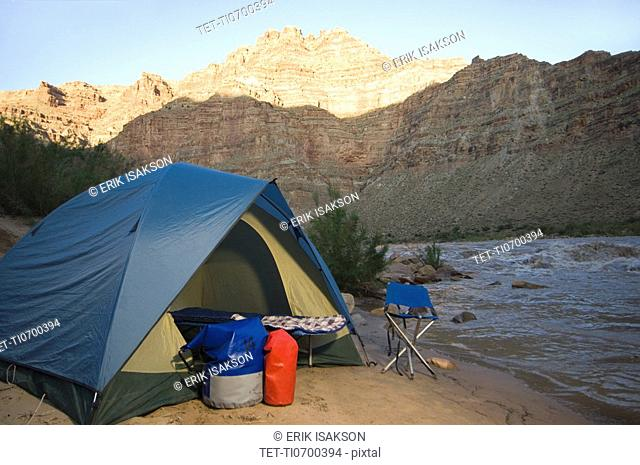 Campsite next to river, Colorado River, Moab, Utah, United States