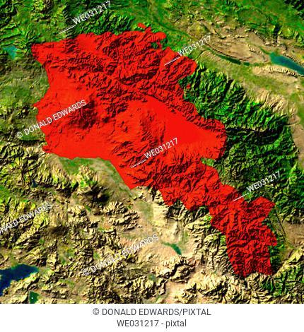 Highlighted satellite image of Armenia