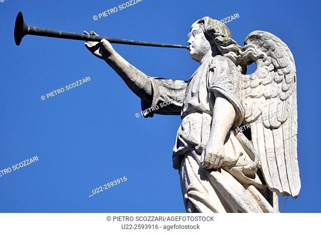 Italy, Emilia Romagna, Ferrara, angel statue in the Certosa...