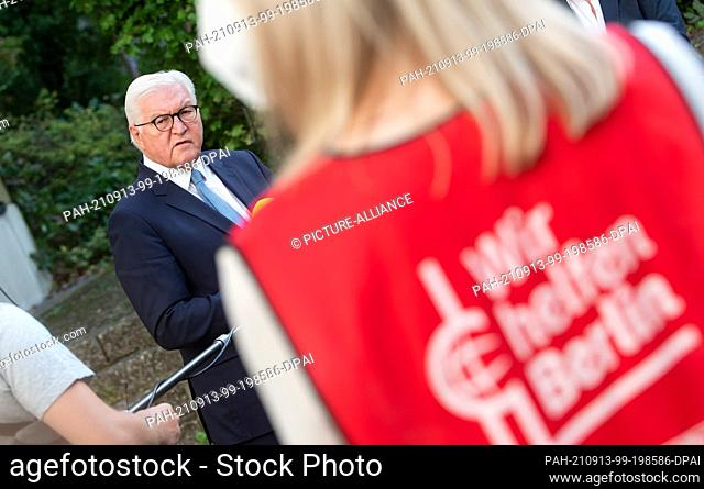 13 September 2021, Berlin: Federal President Frank-Walter Steinmeier comments after his visit to a vaccination campaign of Malteser Hilfsdienst at...