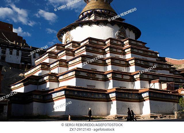 Kumbum stupa in the monastery Paelkhor, Pelkhor Chode, Gyangze, Tibet, China, Asia