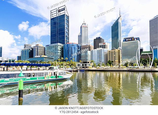 Transperth ferry approaching Elizabeth Quay and skyscrapers of Perth CBD, Perth, Western Australia, Australia