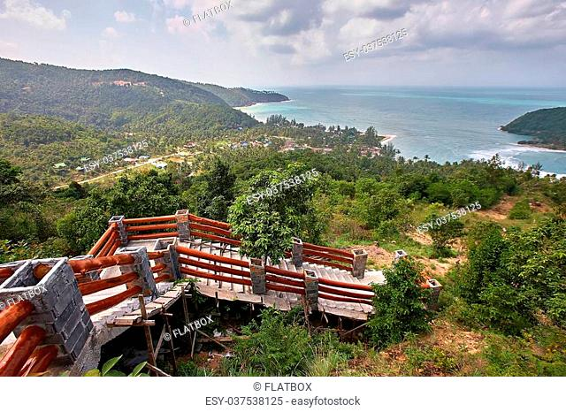 Beautiful tropical landscape in Koh Phangan Thailand, Stairs down