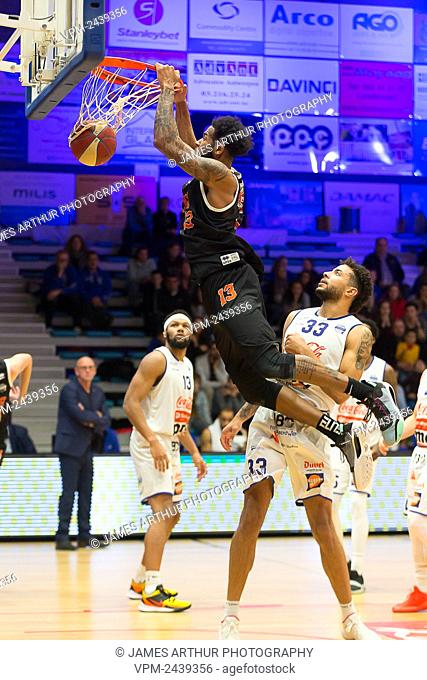 Leuven's Brandan Stith pictured in action during the basketball match between Kangoeroes Mechelen vs Leuven Bears, Friday 06 December 2019 in Mechelen