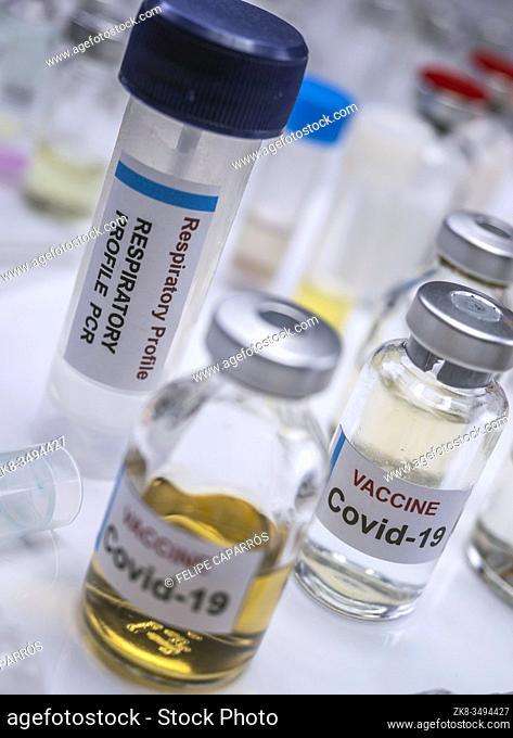 Covid-19 Coronavirus vaccine in a hospital , conceptual image