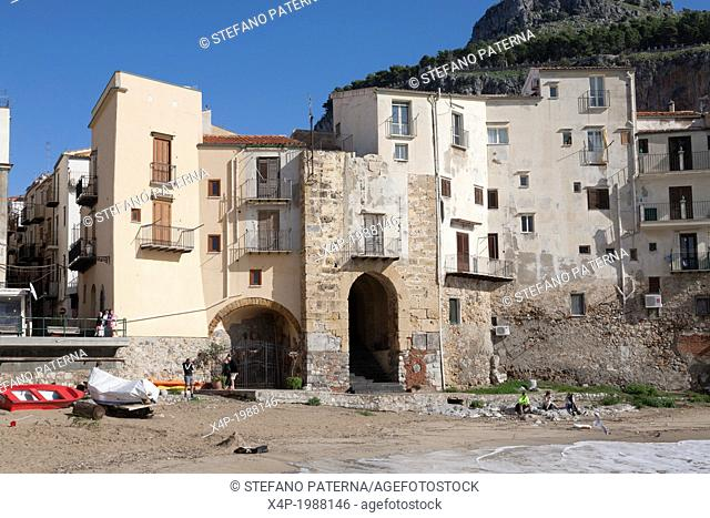 Porta Pescara, Old port and old town of Cefalu, Sicily, Italy