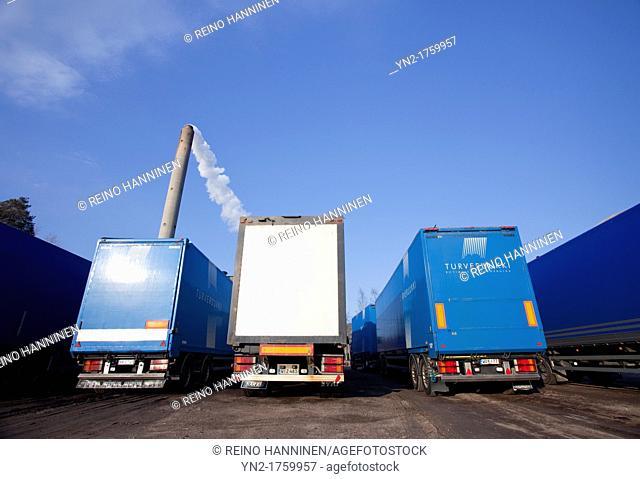 Parked peat transport trucks  Location Oulu Finland Scandinavia Europe
