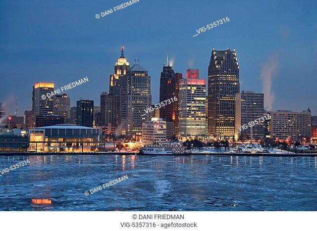 Buildings along the skyline of downtown Detroit, Michigan, USA. Detroit is known as The Motor City, The D, Motown, Hockeytown and the Murder City