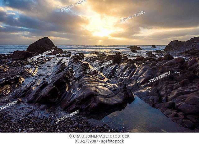 Sandymouth beach on the North Cornwall coast near Bude. England