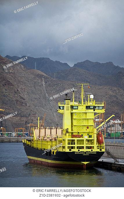 Early morning at Tenerife port. Mountainous landscape in background