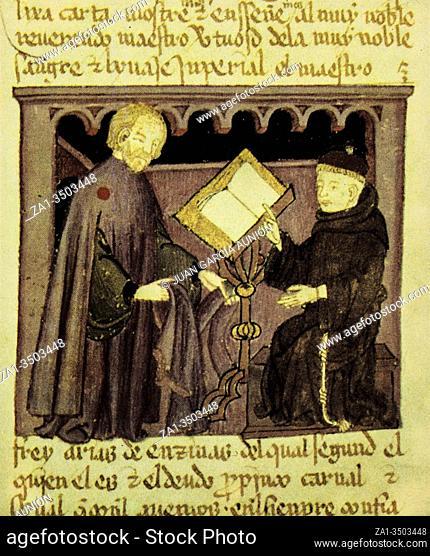 Grammar lesson by Gautier de Metz or Gossuin. Image du Monde, 13th Century manuscript. Paris Sainte-Genevieve Library