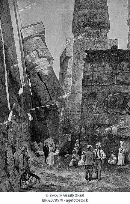 Newly fallen pillar in the Temple of Karnak, Egypt, woodcut, historical engraving, 1882