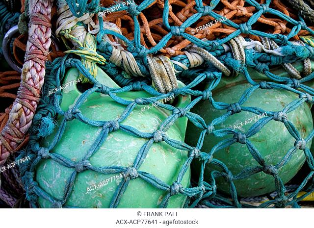 Close up of colourful coiled fishnig nets and floats Steveston, British Columbia, Canada