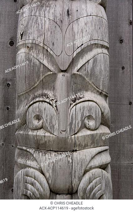 Totem pole detail, Skidegate, Haida Heritage Centre at ?ay Llnagaay, Haida Gwaii, formerly known as Queen Charlotte Islands, British Columbia, Canada