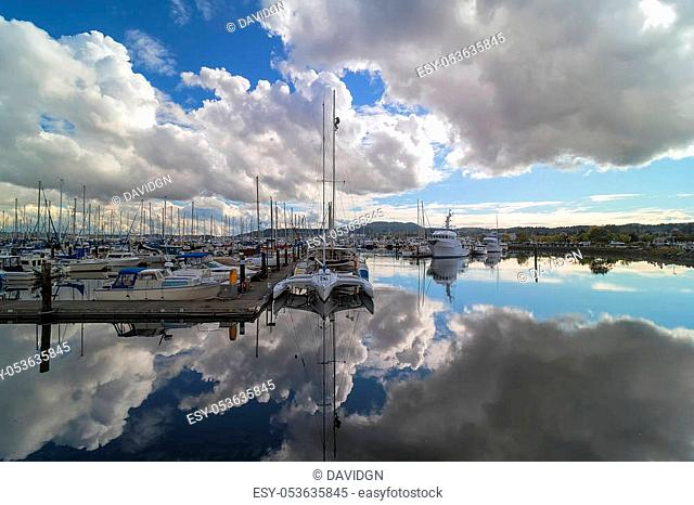 Boat Slips at Port of Anacortes Cap Sante Marina Pier on Fidalgo Island in Washington State on a cloudy day